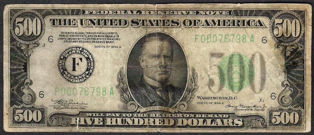1934A $500 Federal Reserve Note Atlanta