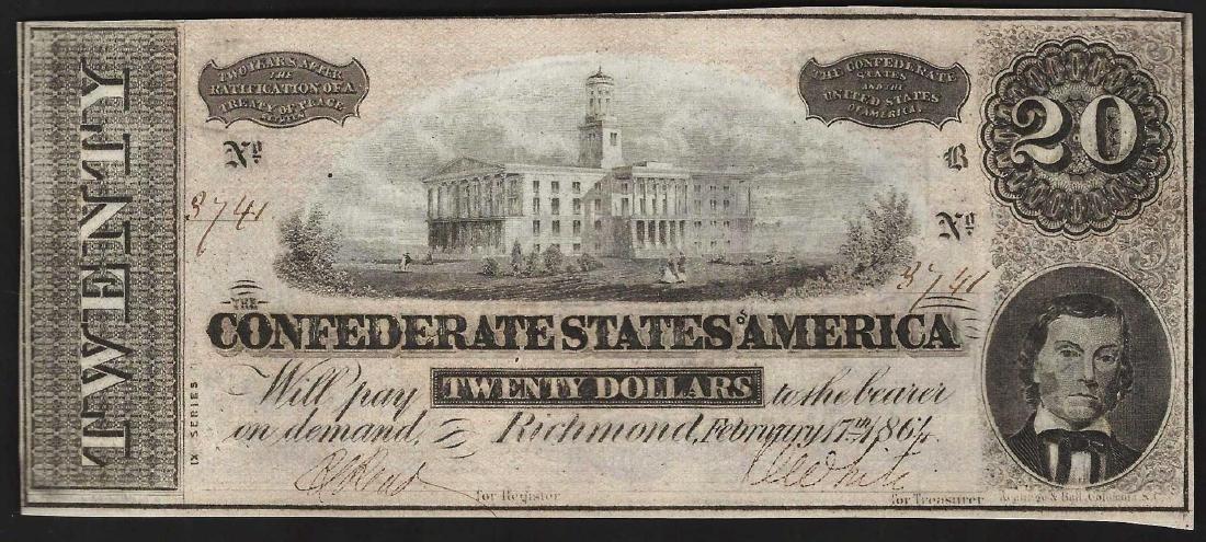 1864 $20 Confederate States of America Note