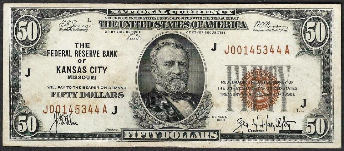 1929 $50 Federal Reserve Bank of Kansas City Note