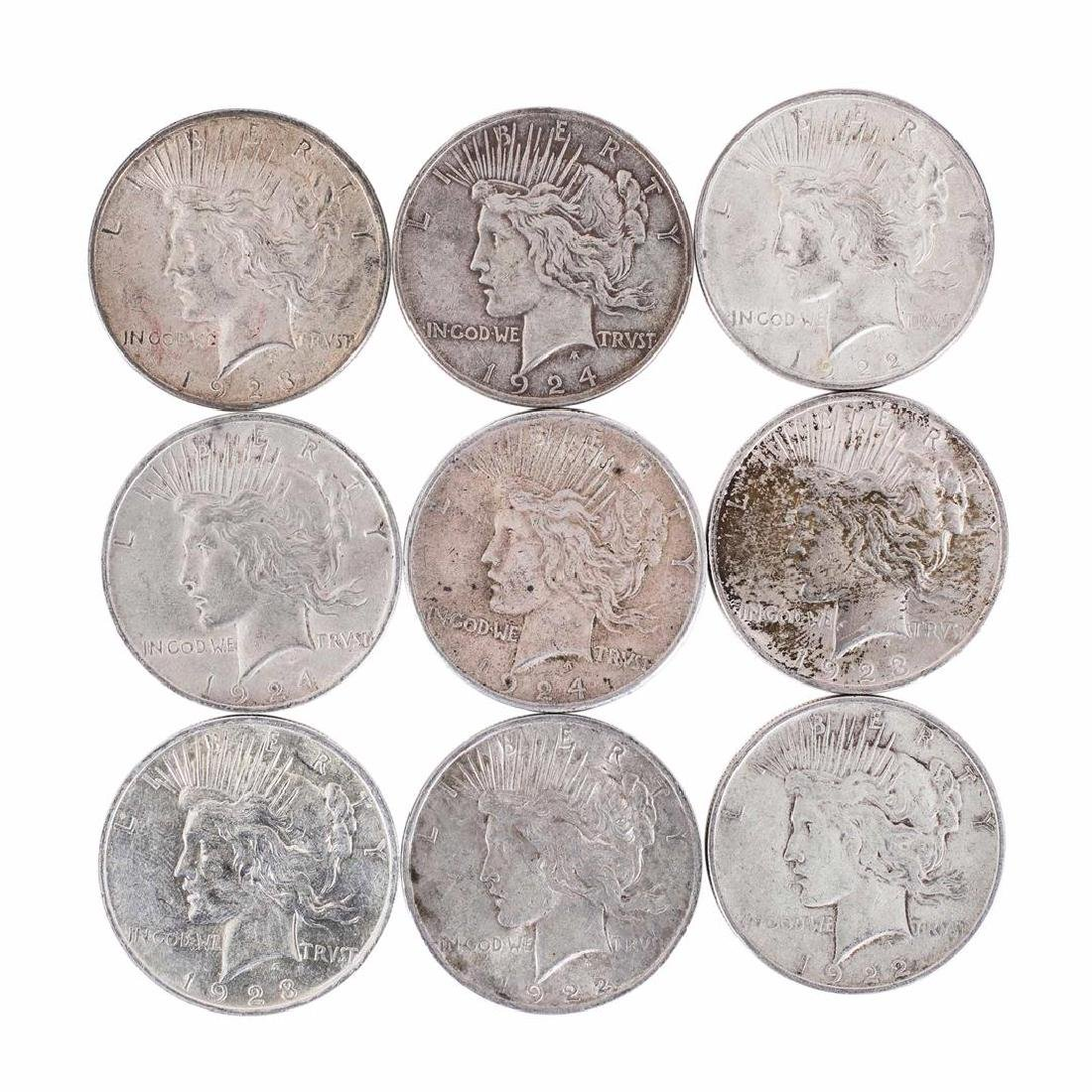 Lot of (9) $1 Peace Silver Dollar Coins