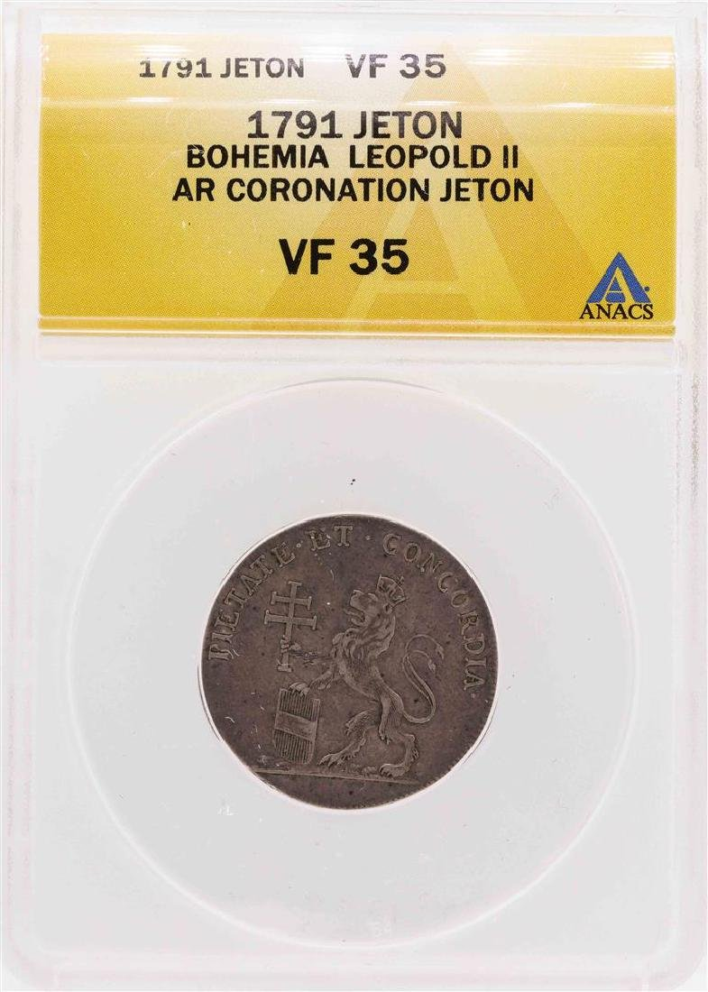 1791 Bohemia Leopold II AR Coronation Jeton Coin ANACS