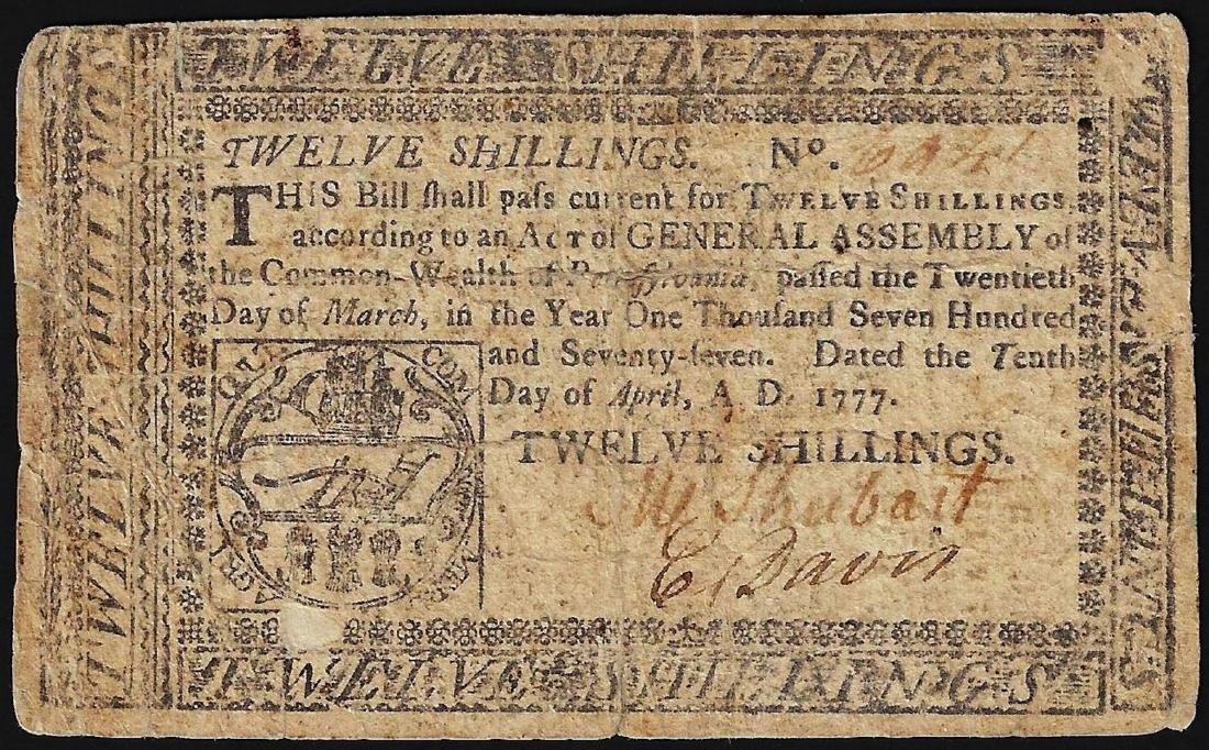 April 10, 1777 Pennsylvania 12 Shillings Colonial