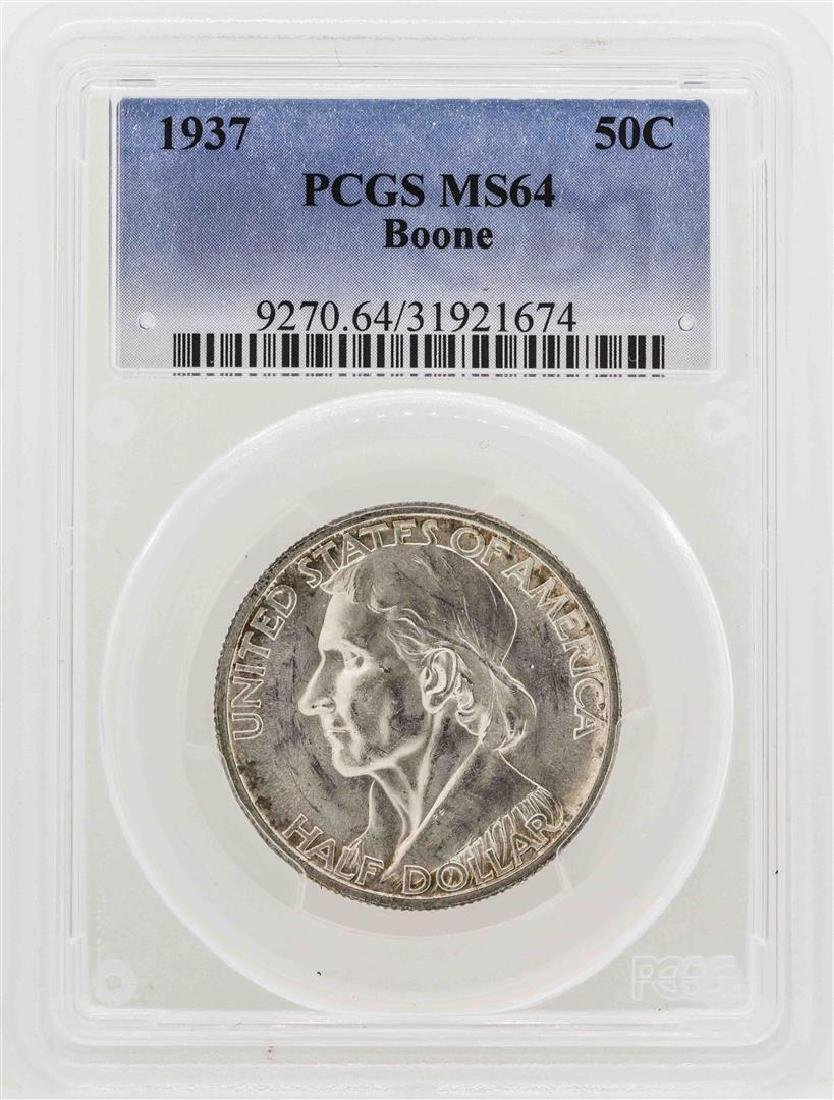 1937 Boone Commemorative Half Dollar Coin PCGS MS64