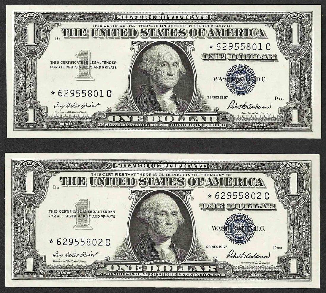 Lot of (2) Consecutive 1957 $1 Silver Certificate STAR