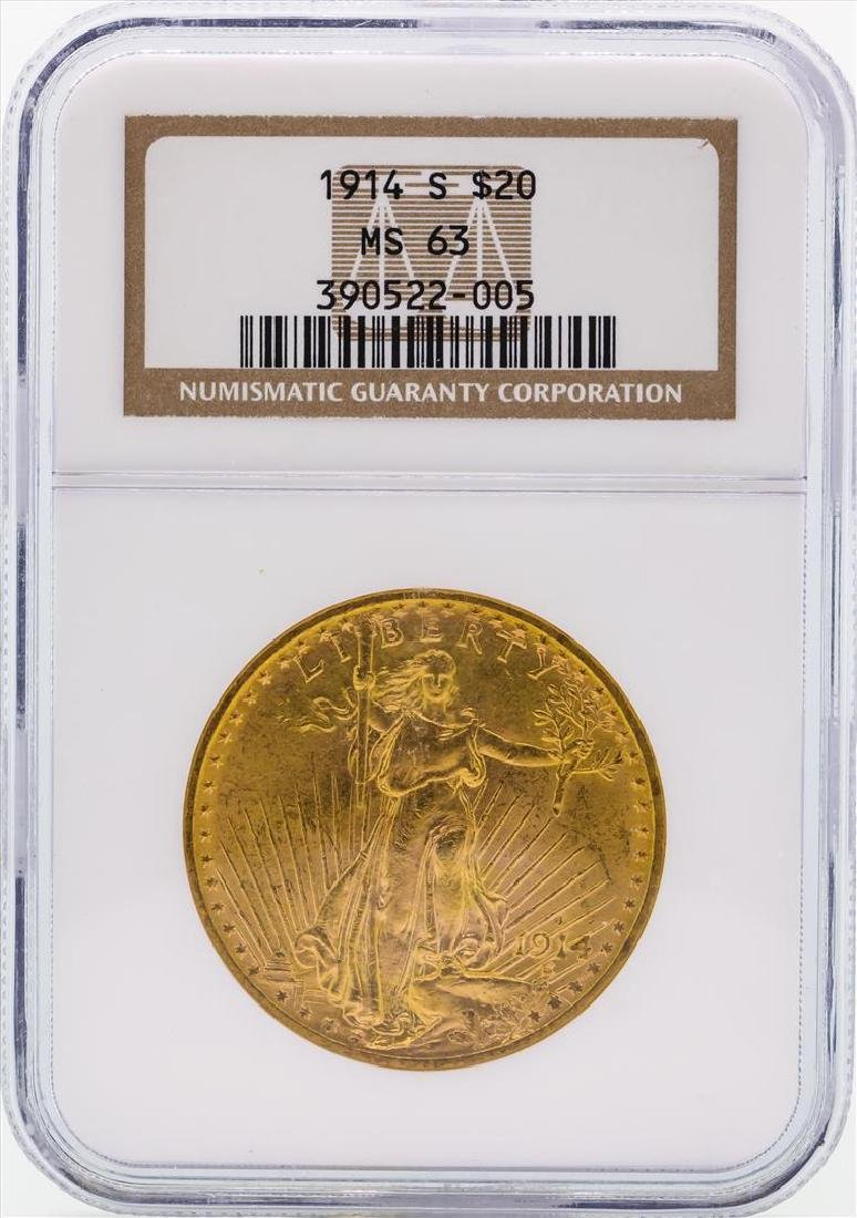 1914-S $20 St. Gaudens Double Eagle Gold Coin NGC MS63