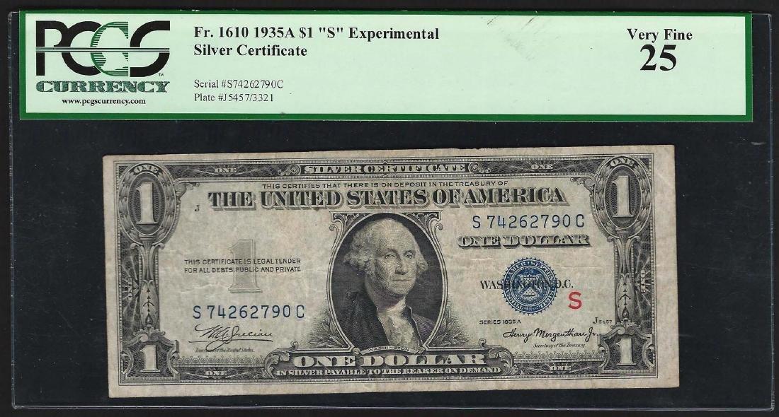 "1935A $1 ""S"" Experimental Silver Certificate Note"