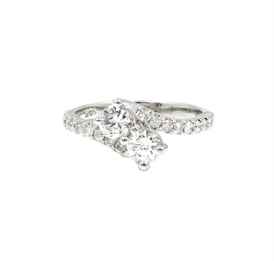14KT White Gold 0.89 ctw Round Cut Diamond Engagement