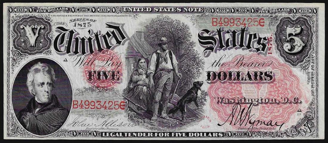 1875 $5 Woodchopper Legal Tender Note