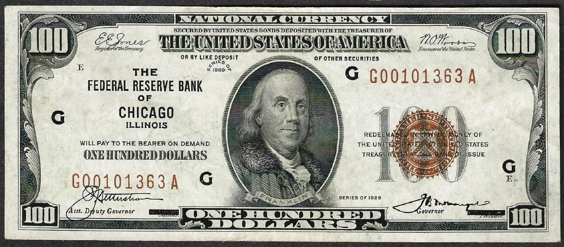 1929 $100 Federal Reserve Bank of Chicago Note