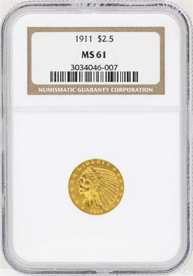 1911 $2 1/2 Indian Head Quarter Eagle Gold Coin NGC