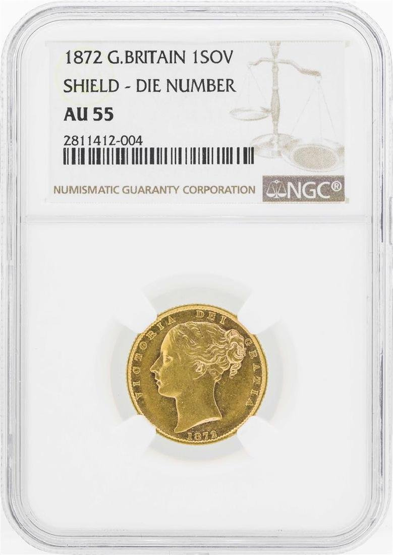 1872 Great Britain Sovereign Gold Coin NGC AU55