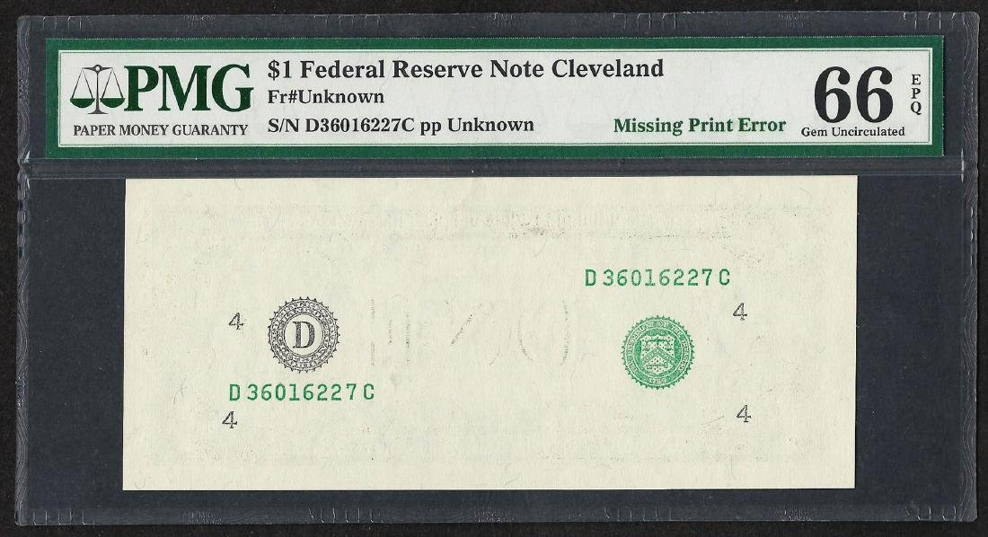$1 Federal Reserve Note Cleveland ERROR Missing Print