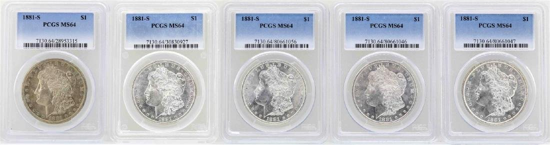 Lot of (5) 1881-S $1 Morgan Silver Dollar Coins PCGS