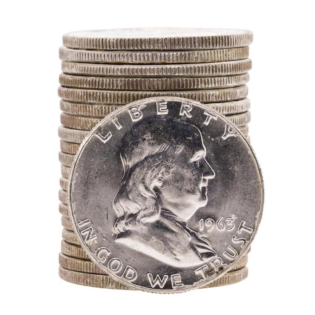 Roll of (20) 1963 Brilliant Uncirculated Franklin Half