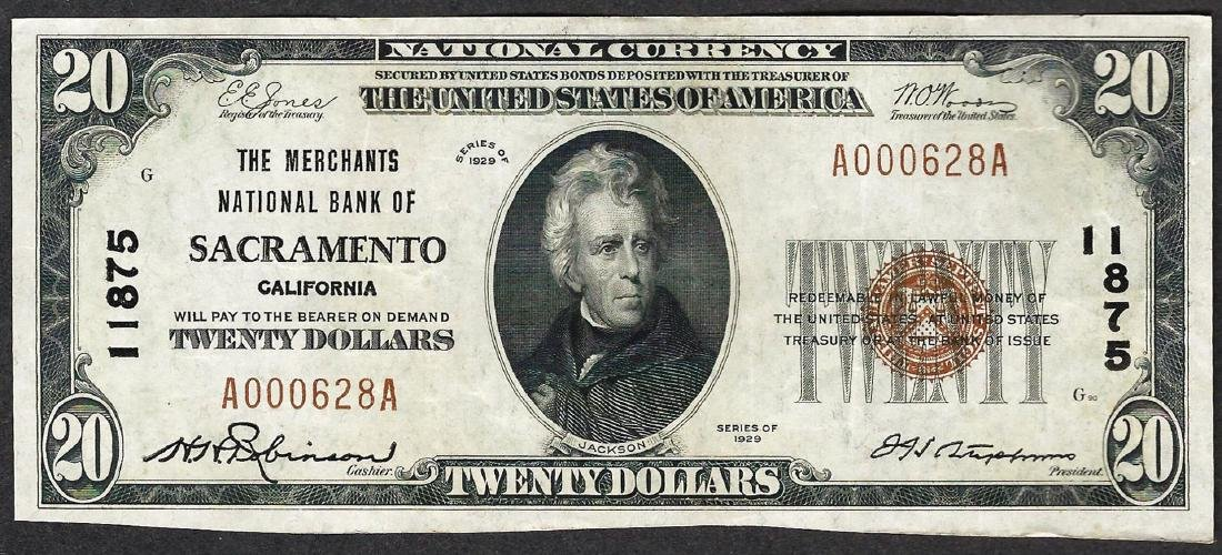 1929 $20 The Merchants National Bank of Sacramento