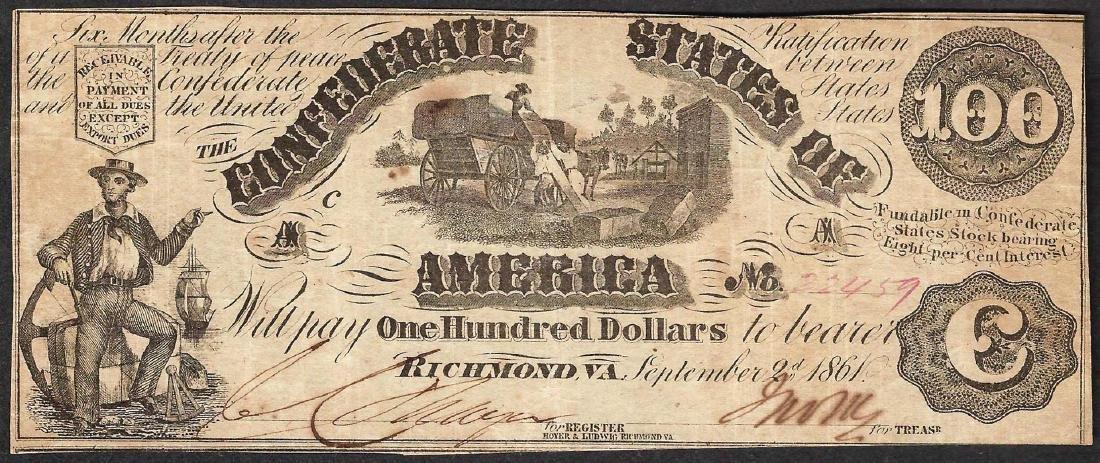 1861 $100 Confederate States of America Note