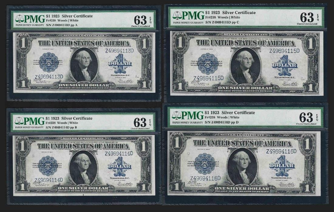 Lot of (4) Consecutive 1923 $1 Silver Certificate Notes