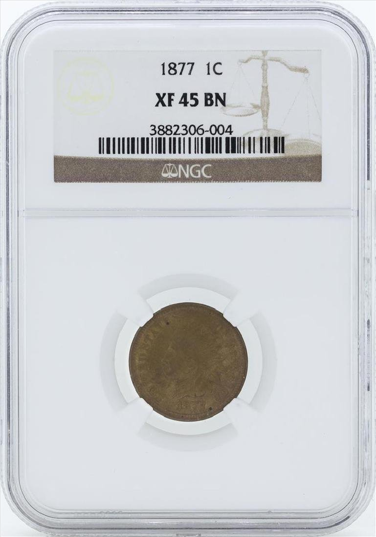 1877 Indian Head 1 Cent Coin NGC XF 45 BN