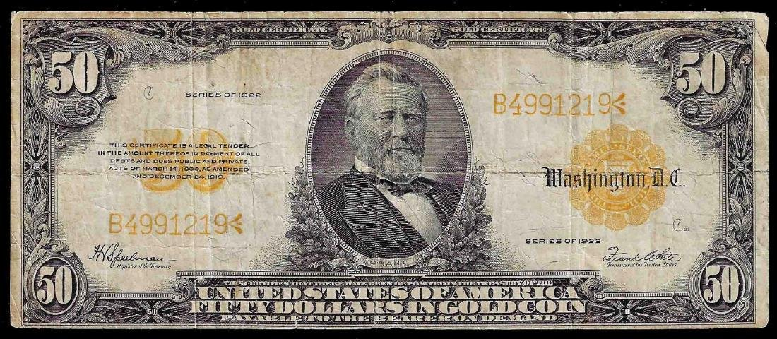 1922 $50 Large Size Gold Certificate