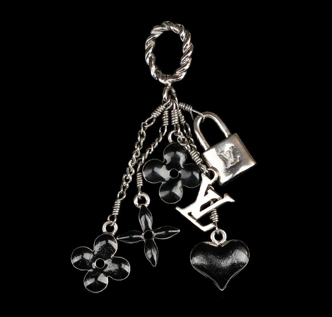 Louis Vuitton Black Flowers and Heart Charm Pendant