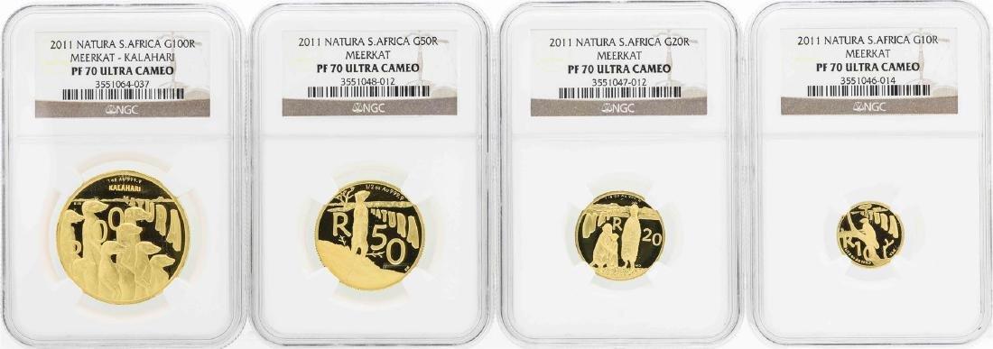 2011 Natura South Africa Gold (4) Coin Set NGC PF70