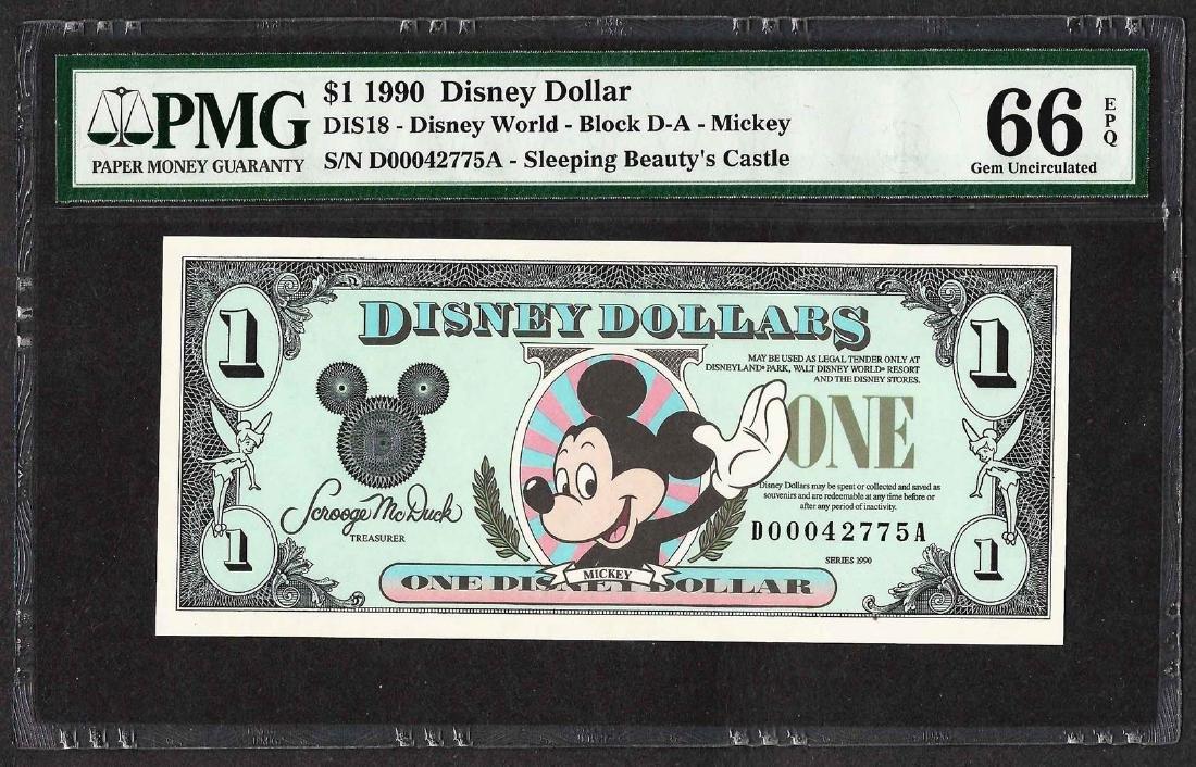 1990 $1 Disney Dollars Note PMG Gem Uncirculated 66EPQ
