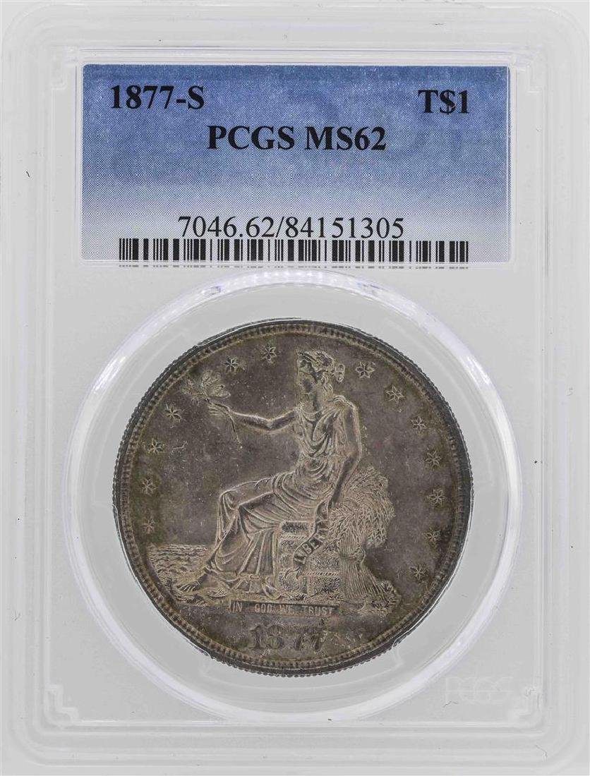 1877-S $1 Silver Trade Dollar Coin PCGS MS62