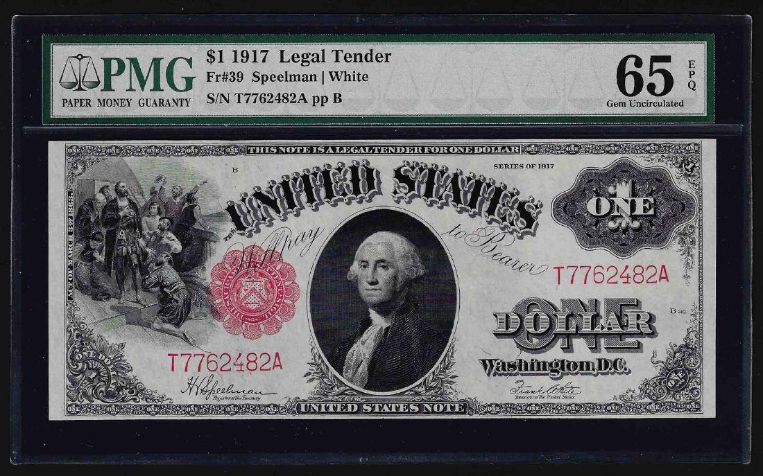 1917 $1 Legal Tender Note Fr.39 PMG Gem Uncirculated
