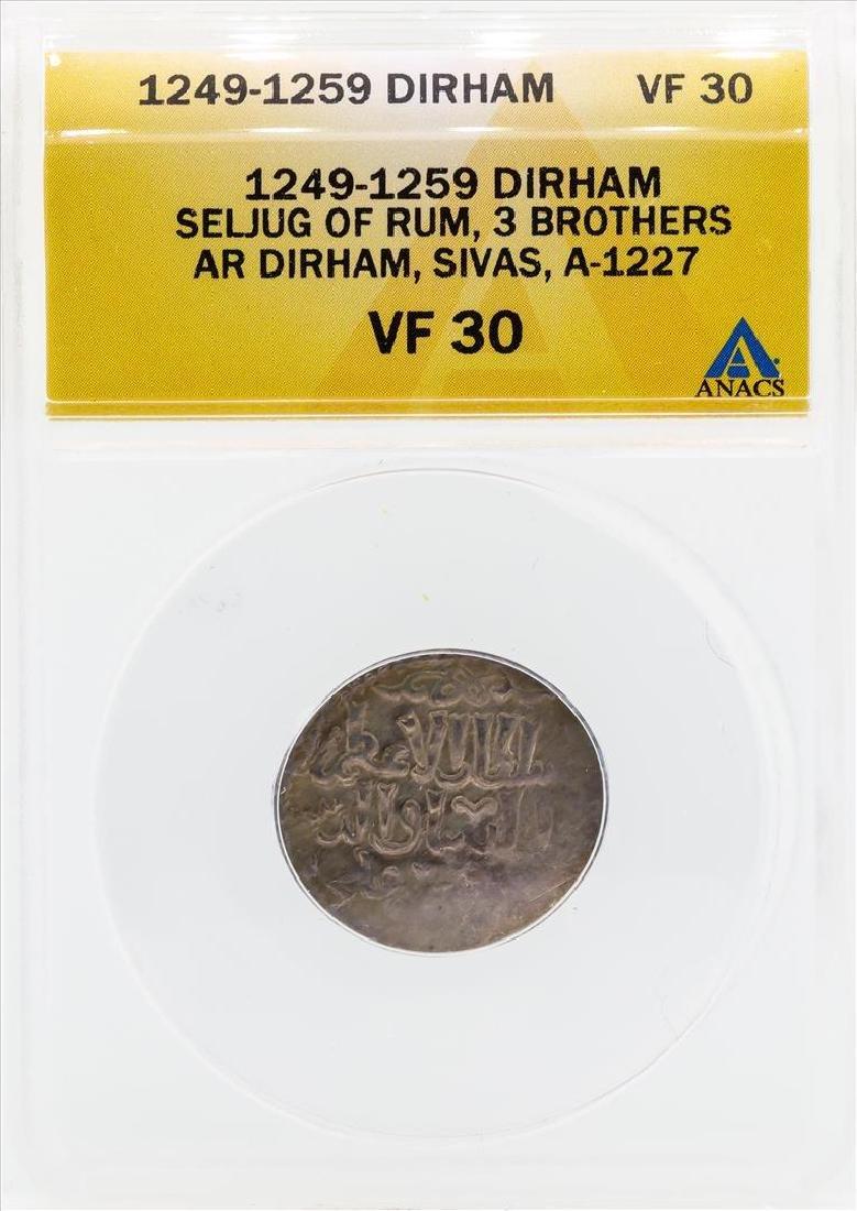 1249-1259 Dirham Seljug of Rum 3 Brothers Coin ANACS