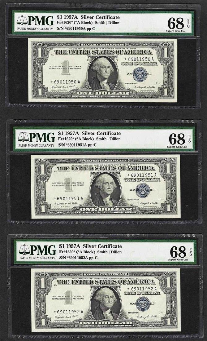 Lot of (3) 1957A $1 Silver Certificate STAR Notes PMG