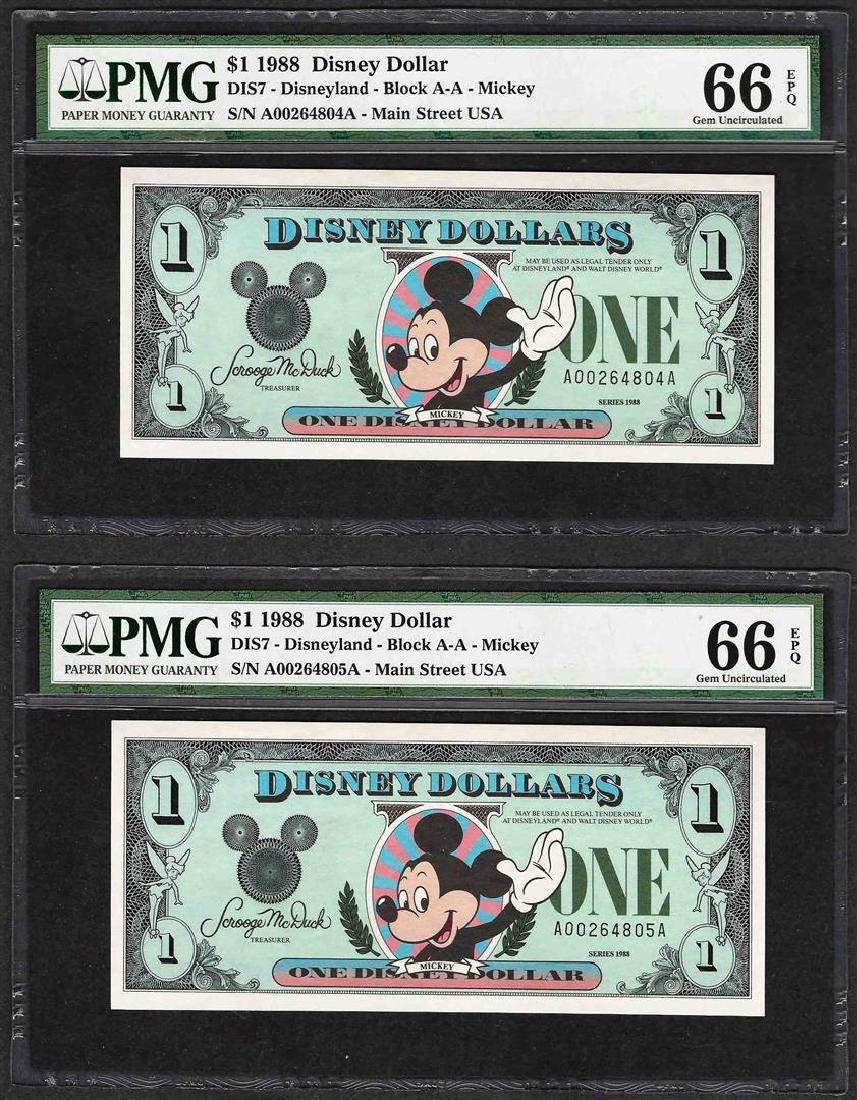 Lot of (2) Consecutive 1988 $1 Disney Dollars Notes PMG