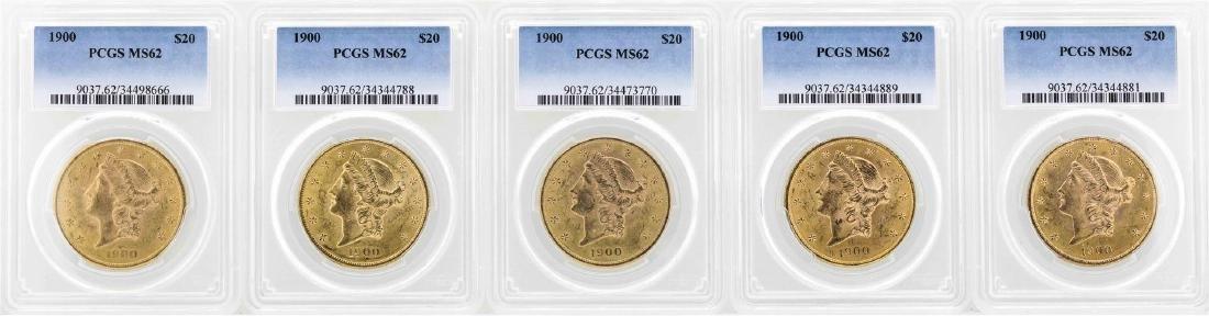 Lot of (5) 1900 $20 Liberty Head Double Eagle Gold