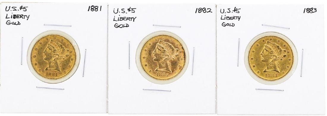 Lot of 1881-1883 $5 Liberty Head Half Eagle Gold Coins