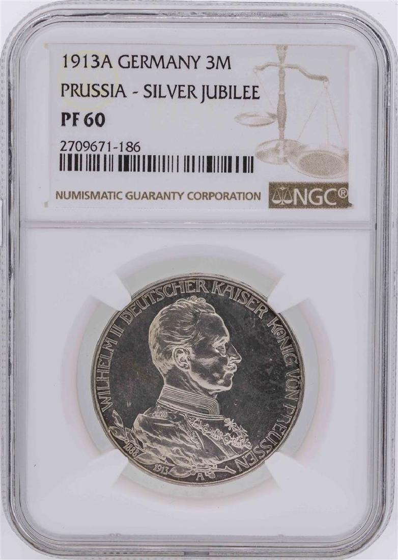 1913A Germany 3 Mark Prussia Silver Jubilee Coin NGC