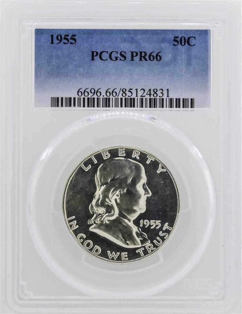 1955 Franklin Half Dollar Coin PCGS PR66