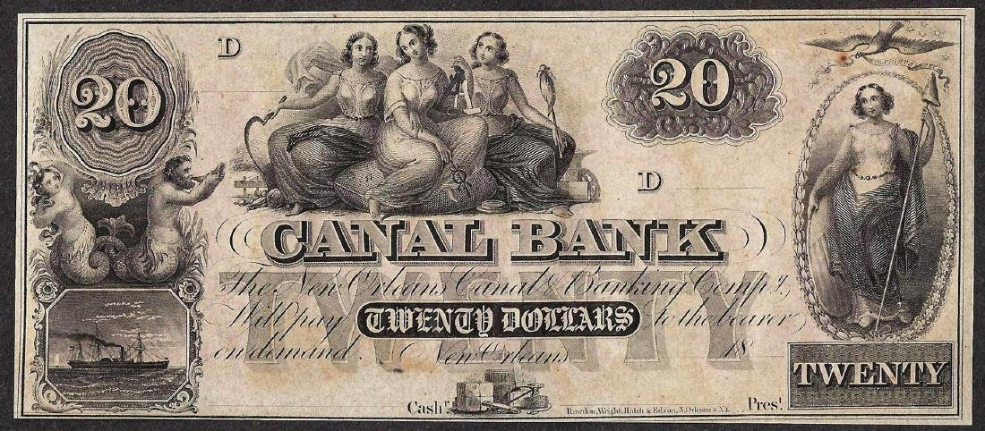 1800's $20 Canal Bank New Orleans Obsolete Note