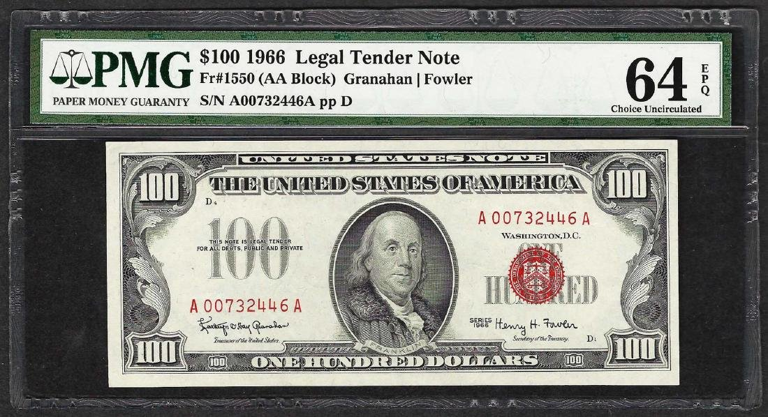 1966 $100 Legal Tender Note Fr.1550 PMG Choice