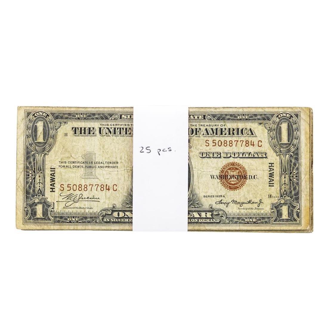Lot of (25) 1935A $1 Hawaii WWI Emergency Silver