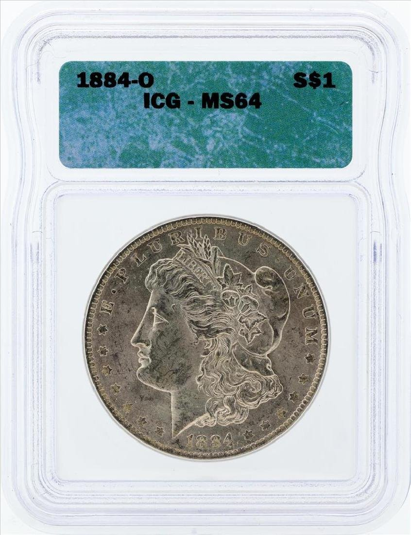 1884-O $1 Morgan Silver Dollar Coin ICG MS64