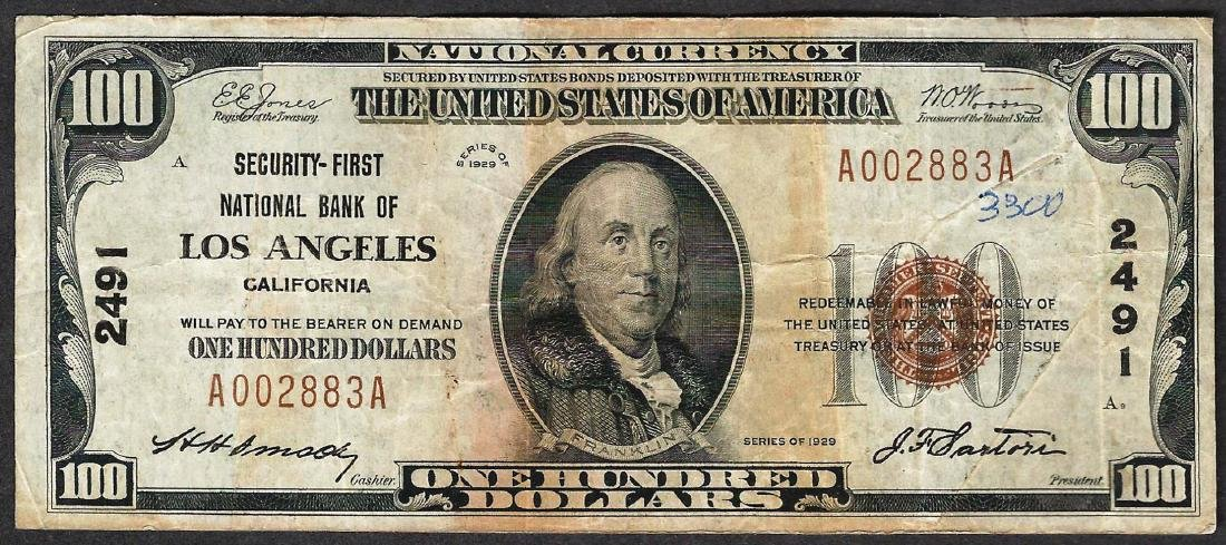 1929 $100 Security-First National Bank of Los Angeles