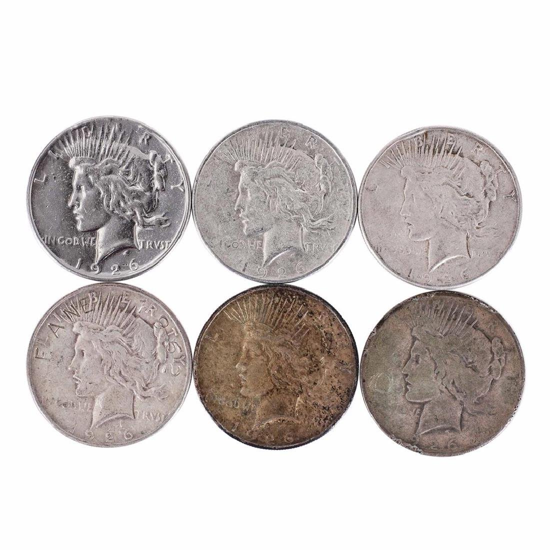 Lot of (6) 1926 $1 Peace Silver Dollar Coins