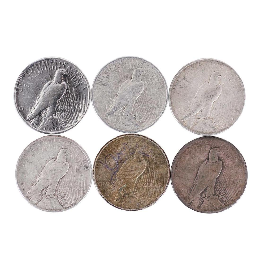 Lot of (6) 1926 $1 Peace Silver Dollar Coins - 2