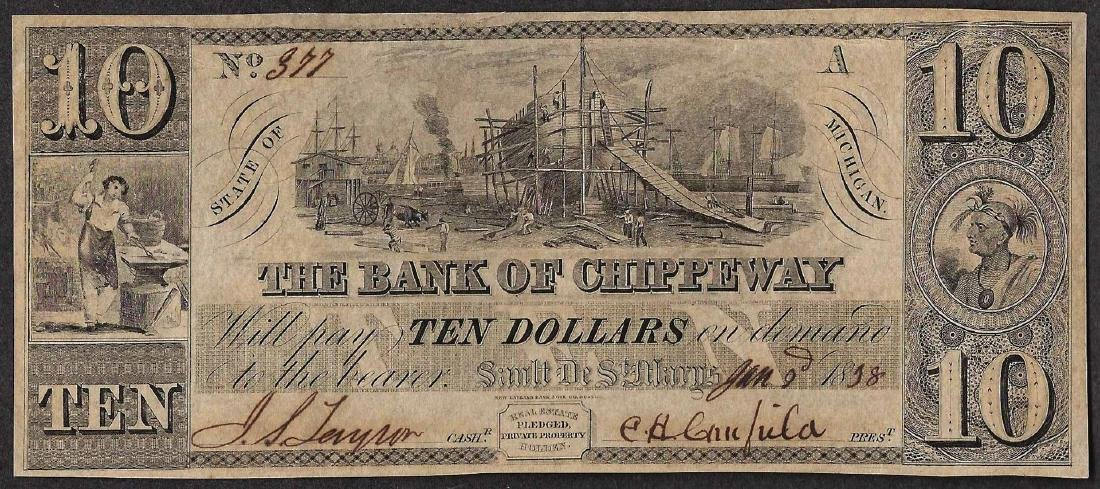 1838 $10 The Bank of Chippeway Obsolete Note