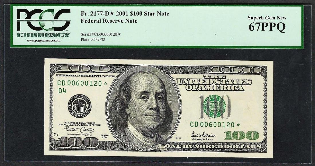 2001 $100 Federal Reserve STAR Note PCGS Superb Gem New
