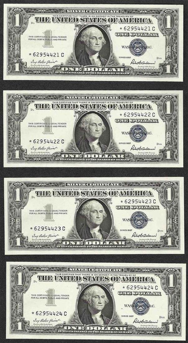 Lot of (4) Consecutive 1957 $1 Silver Certificate STAR