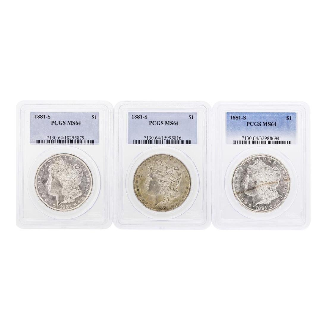 Lot of (3) 1881-S $1 Morgan Silver Dollar Coins PCGS
