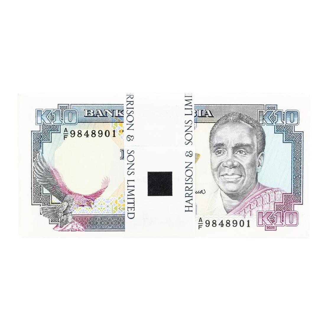 Pack of (100) Zambia 10 Kawacha Uncirculated Notes