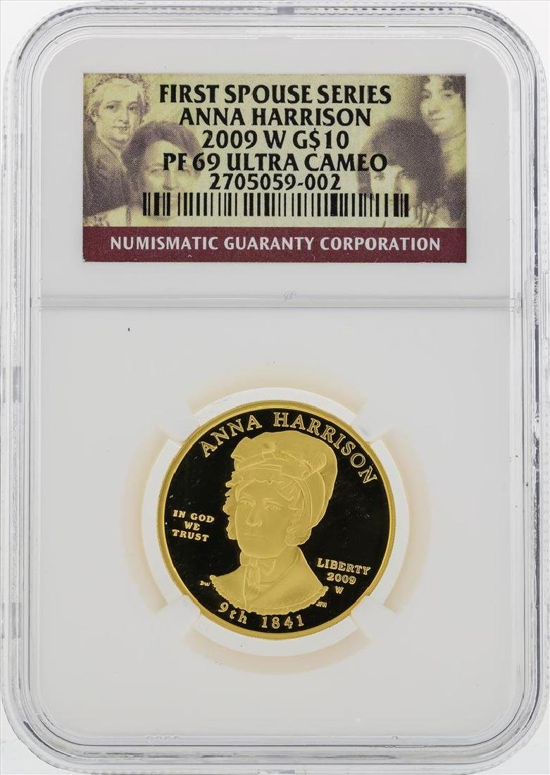 2009 W $10 First Spouse Series Anna Harrison Gold Coin