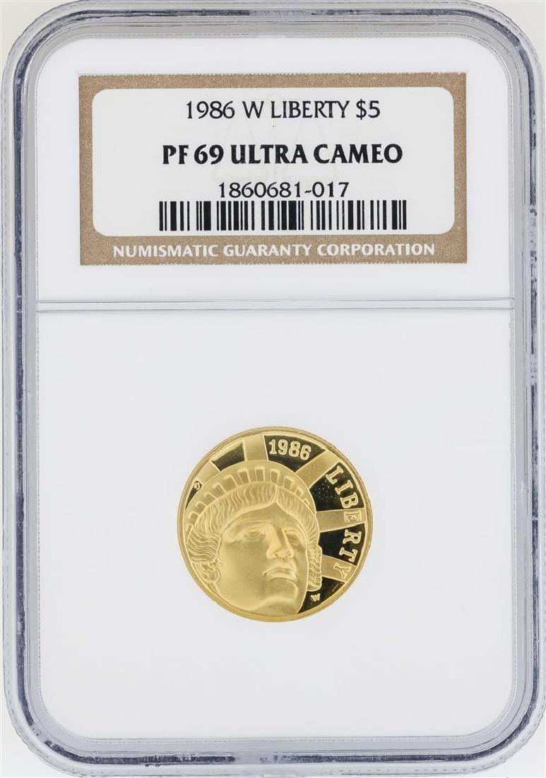 1986-W $5 Liberty Commemorative Gold Coin NGC PF69