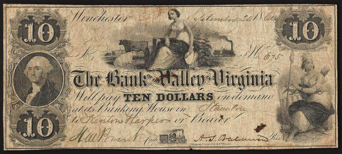 1860 $10 The Bank of the Valley in Virginia Obsolete